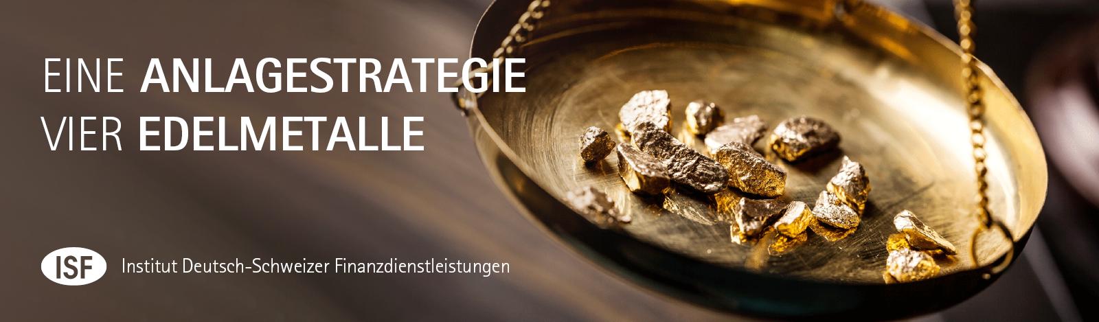 Schwingende Goldwaage mit Gold Nuggets eine Anlagestrategie vier Edelmetalle